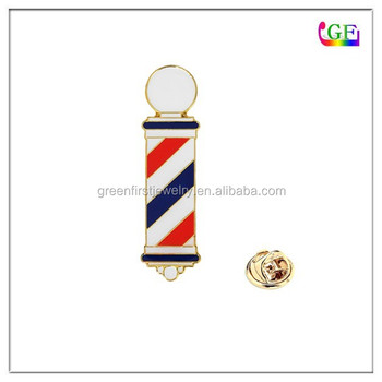 Custom metal lapel pins Barber Pole charm