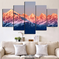 5 Panel Mountain landscape Frame Picture Print Canvas Paintings Modern Wall Art Living Room Set Home Decor Wholesale RA0001
