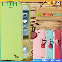New Arrival Cherry Series PU Leather Case For Samsung Galaxy Note 2 II N7100 Flip Wallet Cover With Card Holder FET03706