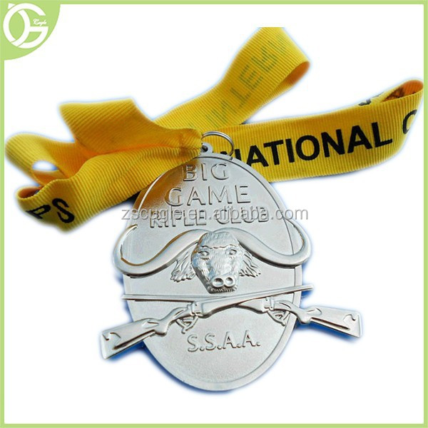 3d effect nickel finish custom goat shape metal medal with ribbon Drap