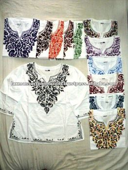 cotton embroidery ladies tops from india