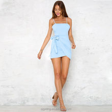 Popular Tunic Light Blue Spaghetti Strap Bodycon Short Sexy Club Dress