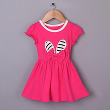 New Summer And Spring Girls Hot Pink Dress With Little White Shoes Cotton Kids Clothing For 3-7 Y free ship GD40224-19
