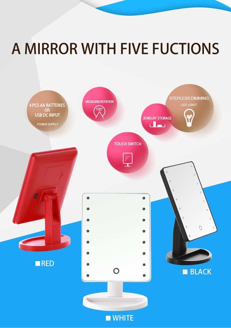 Cosmetic Mirror Led16 Led Touch Light Illuminated Desktop Jerdon Mounted Wiring Diagram More Picture Of