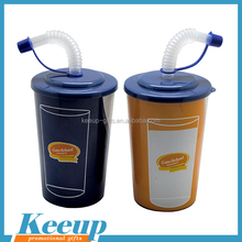 Wholesale Customized Temperature Sensitive Color Changing Plastic Coffee Cup With Straw