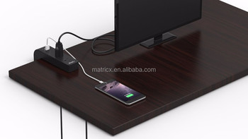 USB PowerCube Extended 5V 4.2A Power Strip With 4 Way Socket & 1.5m Extension surge protector power strip