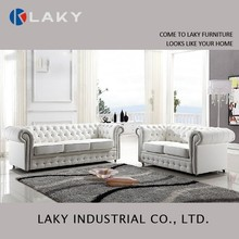 LK-LS1517 Luxury classic European 1+2+3 leather sofa with crystal