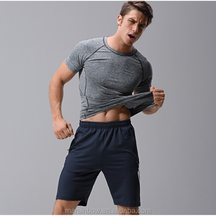 Bulk Wholesale Mens Raglan Sleeve Muscle T Shirt Heather Grey Polyester Spandex Dry Fit T Shirt Bodybuilding Gym Fitted T Shirt