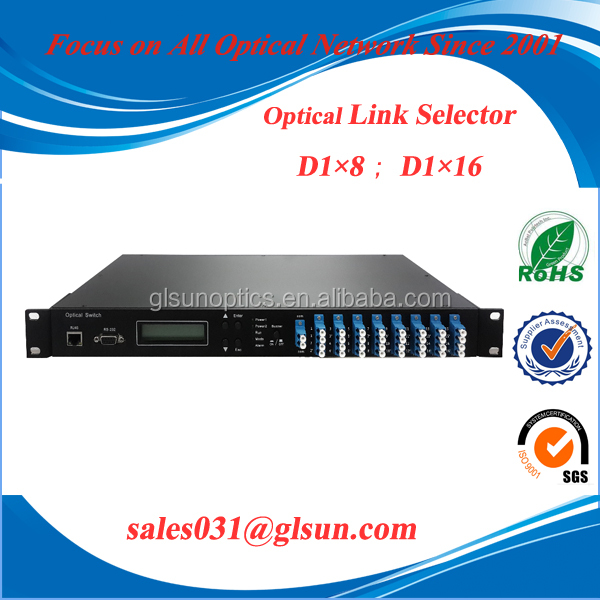 D1x8 D1x16 Fiber Optic Route Selector for multi-channel optical monitoring