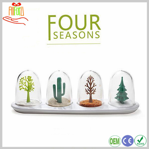 Fancy Spice Jar Four Seasons Plastic Kitchen Seasoning Shaker Bottle Set of 4 for Spices