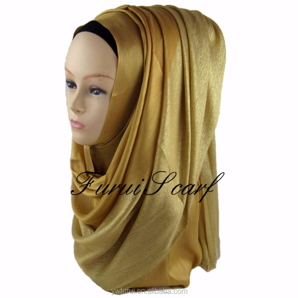 Hot Sale High Quality Wholesale Shinny Shimmer Plain Hijab Glitter Fashion Arab Muslim Scarf