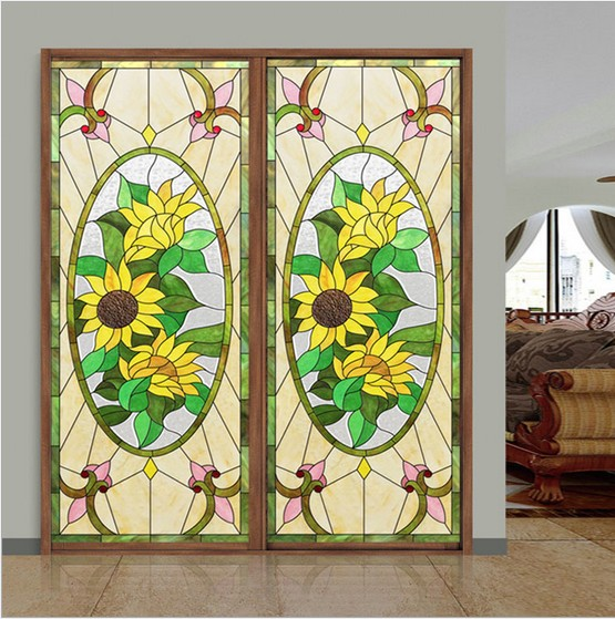 Customize european style colorful stained glass stickers for windows church glass windows stickers electrostatic home foil film in decorative films from