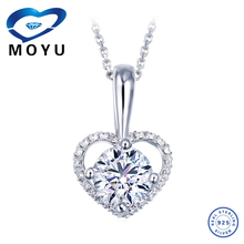 Online wholesale fashion jewelry 925 silver puffy heart pendant with shining cubic zircon