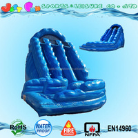 giant commercial inflatable ocean wave water slide, blue curvy water slide for kids and adults