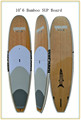 all sizes bamboo face EPS foam round/tour sup/surf board with deck pad,carbon patch,customized design/logo