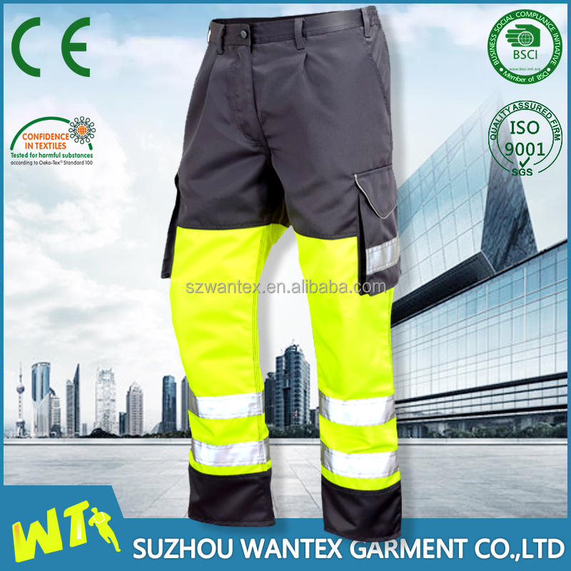 EN20471 High visibility reflective roadway safety workwear work pants work trousers