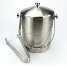 Stainless steel beverage bucket with lid and ice tong