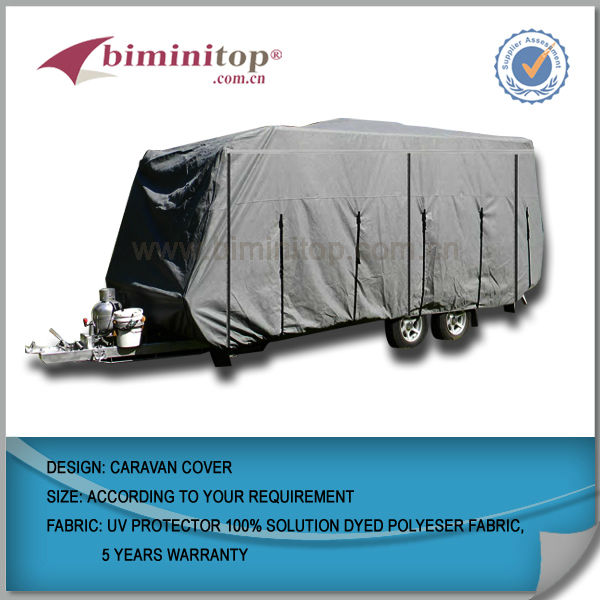 100% solution dyed polyster fabric waterproof caravan cover for sale