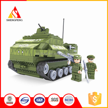 Promotional funny kids educational toys building block mini plastic tank toy