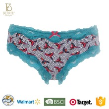 BEJ017-P wholesale fashion ladies printing panties sexy ladies used panties with waving stitching lace trim for women girls biki