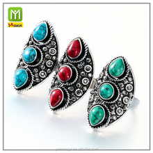 2016 Personality RetroThree Diamond Creative Engraved Crystal Rhinestone Magic boho Turquoise ring Men