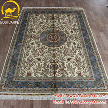 6'x9' Nice floral hand knotted beige field blue border persian pure silk art deco chinese rugs