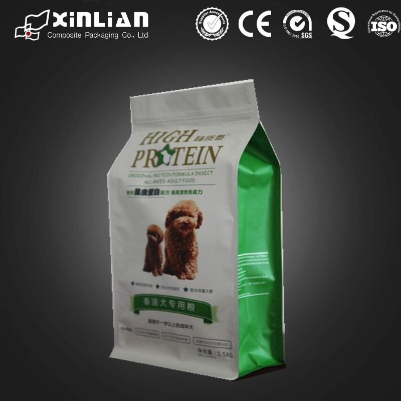2015 hot sale china made side gusset flat bottom stand up pet food packaging bag with zip lock