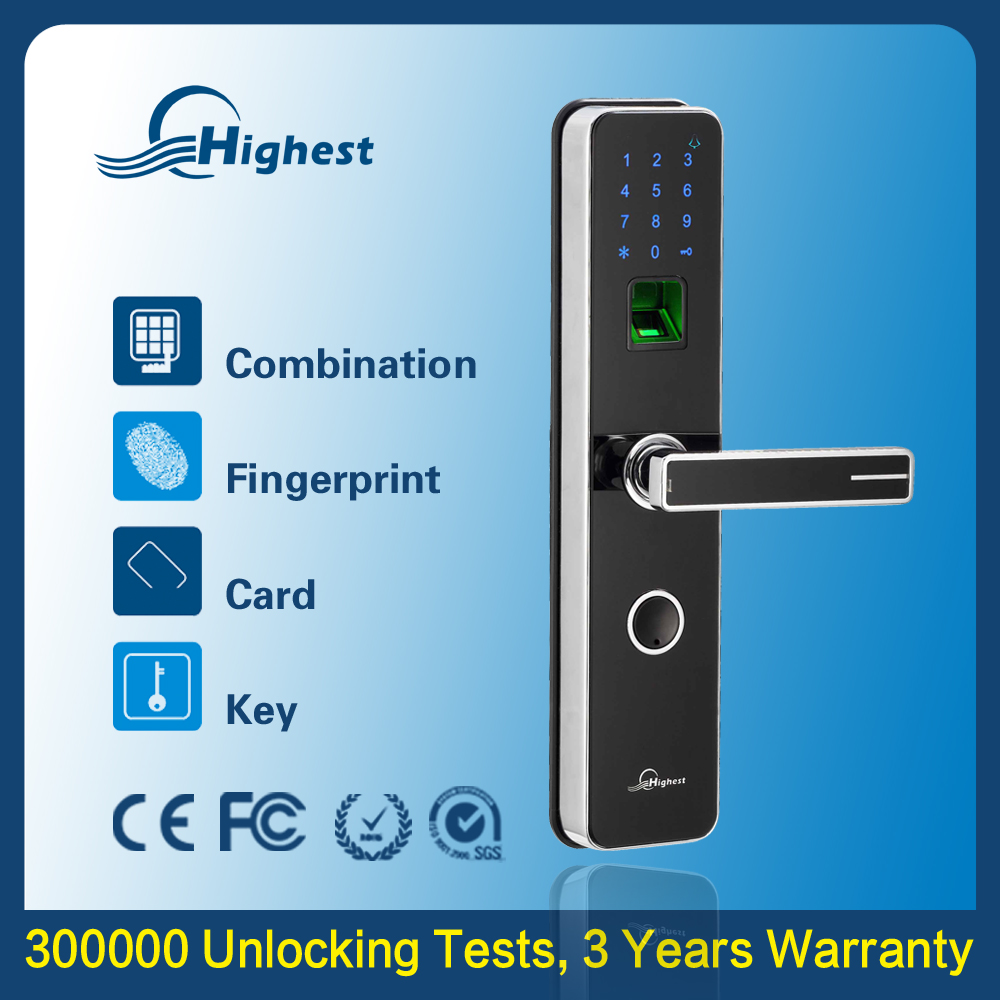Zinc Alloy Outdoor Keyless Electronic Digital Biometric Fingerprint Scanner Door Lock With Handle