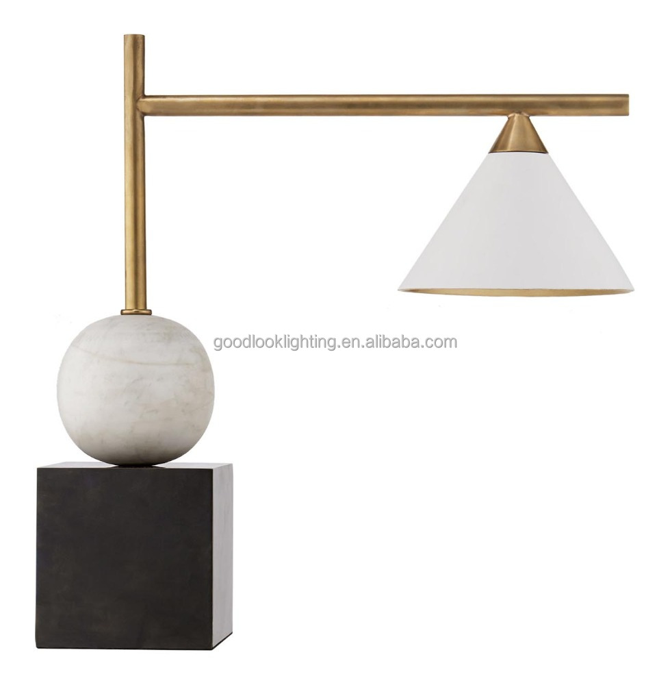 (C)UL&ETL modern SQ.base and marble accent w/white glass shade with antique brass finish hotel table lamp/desk lamp