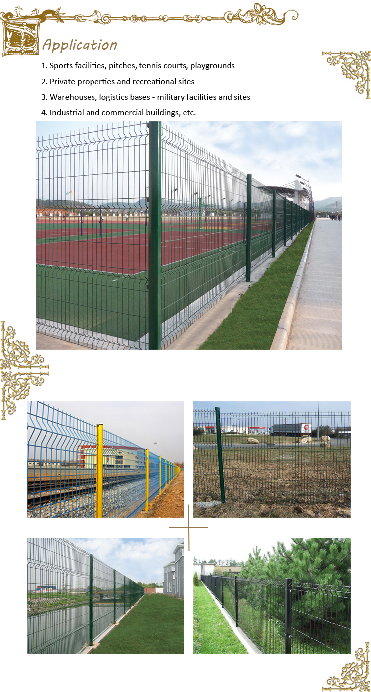 china supply powder curvy welded fence coating angle bent fence
