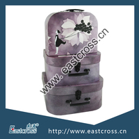 Lilac Mini Paper Suitcase Gift Box Set with Black Accessories