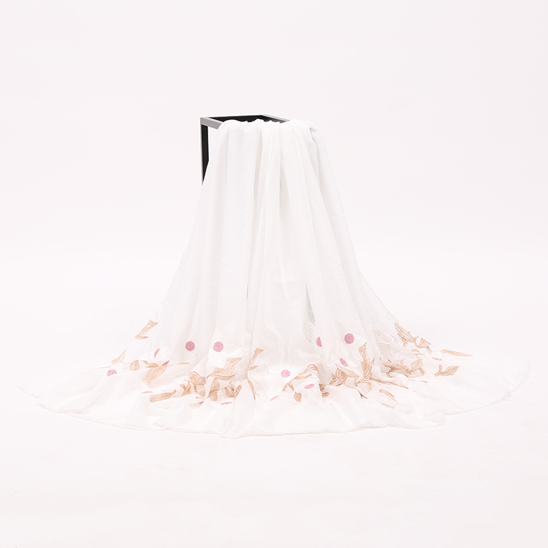 Low MOQ High Quality White Embroidered Wedding Bridal Wrap Shawl