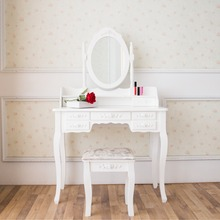 MDF Wooden Makeup Mirrored Vanity Wrought Iron Dressing Table