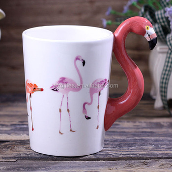 OXGIFT China Wholesale Factory Price Amazon 3D ceramic Painted Animal flamingo porcelain coffee tea water cup mug