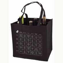 non woven 6 pack wine bottle tote bag