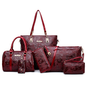 Hot sale pu leather embossed ladies handbags 6 pcs set women bag made in  china 3bba907d78f94