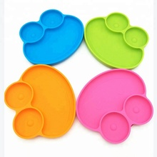 Food Grade silicone baby suction cup mat placemat one-piece silicone baby dinner <strong>plate</strong> and bowls