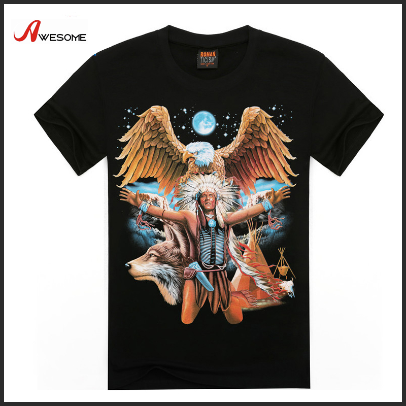 2016 new trend machine stamping t shirts for men with rock eagle print