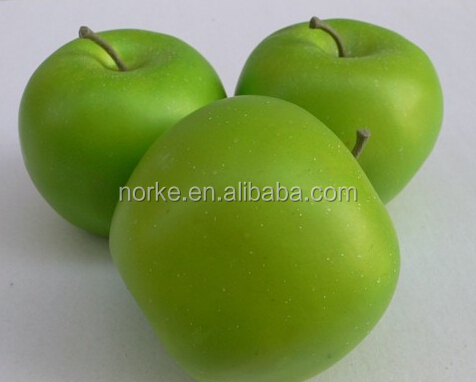 3 Realistic Artificial Weighted Green Apple Faux Fruits Fake Fruits