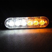 Flashing dual color 3w white Amber 18w Dash warning lights 6 LED strobe