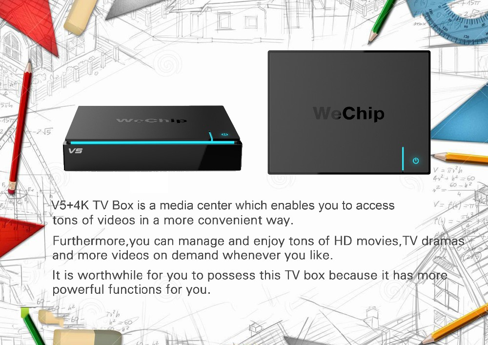 2017best Wechip V5 Android tv box Amlogic S905X Quad Core Android 6.0 TV BOX 2G 16G KODI 16.1 4K Smart Android Tv box