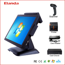 15 inch touch screen ordering restaurant system all in one with printer and cash drawer