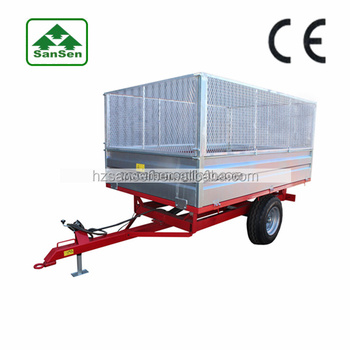 Agriculture tractor trailer with hydraulic cylinder lift ; Tractor wagon hot dip galvanized trailer