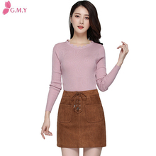 mature ladies latest design suede front two pocket skirt 2016