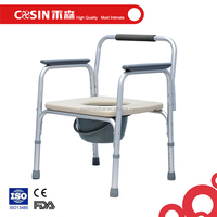 COSIN aluminum commode toilet chair with PU seat and detachable pail for sale