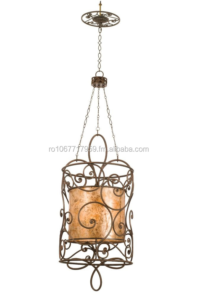 Kalco 5410AC/S225 Windsor 12-Light Foyer Lantern, Antique Copper Finish with Stained Mica Shade