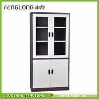 modern steel office furniture 2 swing glass door metal file cabinet / steel filing cabinet