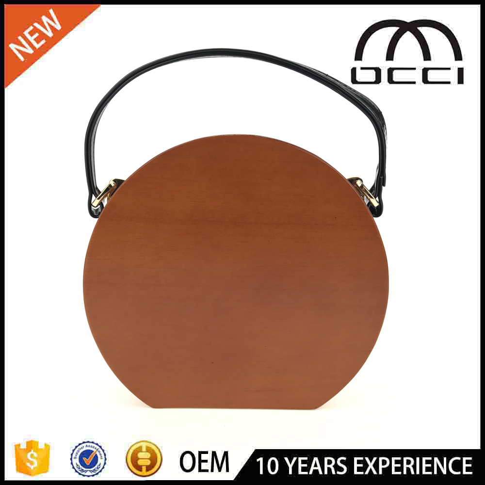 2017 Hot Selling Round Shape Wooden Bags China Wholesale Clutch Bag OC3044