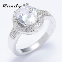 Trendy Design Round Band Prong Setting CZ Diamond Wedding Ring