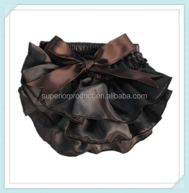 Cute baby bloomers with satin bow wholesale brown sold color satin bloomers baby satin ruffle bloomers diaper cover for kids